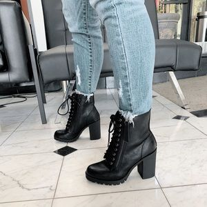 Black combat ankle lace up boots